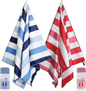 """Exclusivo Mezcla 2 Pack Microfiber Beach Towel, Large Sports/Swimming/Pool Towel for Kids and Adults (Blue and Red, 30"""" x ..."""
