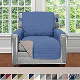 Sofa Shield Original Patent Pending Reversible Chair Protector for Seat Width up to 23 Inch, Furniture Slipcover, 2 Inch Strap, Chairs Slip Cover Throw for Pets, Kids, Cats, Armchair, Denim Lt Taupe