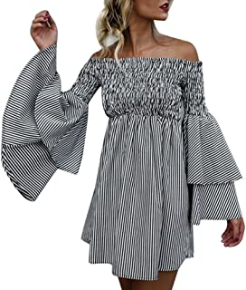 Womens Sexy Off Shoulder Stripe Horn Long Sleeve Holiday Party Mini Dress