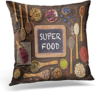 Emvency Throw Pillow Cover Black Superfood Super Foods in Spoons and Bowls Decorative Pillow Case Home Decor Square 18