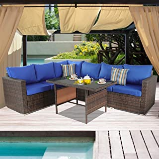 JETIME Patio Couch 7pcs Outdoor Wicker Sofa Set Garden Brown Rattan Furniture Royal Blue Cushioned Sectional Conversation Set with Dining Table