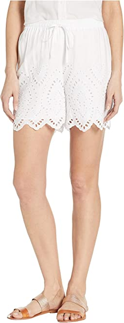 Woven Challis Embroidered Pull-On Shorts