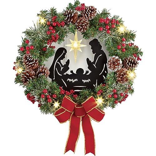 Collections Etc Lighted Nativity Scene Christmas Wreath - Christmas Wreaths Clearance: Amazon.com