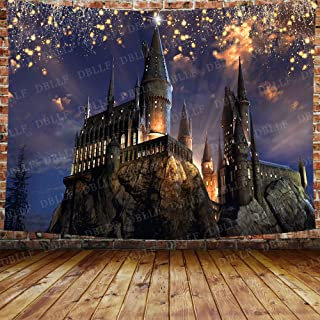 DBLLF Fantasy Castle Tapestry Gothic Style Ancient Castle Lights Forest Magic Night Scenic Wall Hanging,Velvet Decor for L...