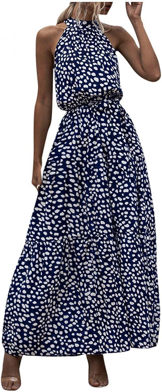 FENGSHAN Boho Dress for Women Summer Dot&Floral Print Long Dress Evening Party Beach Dress Sundress