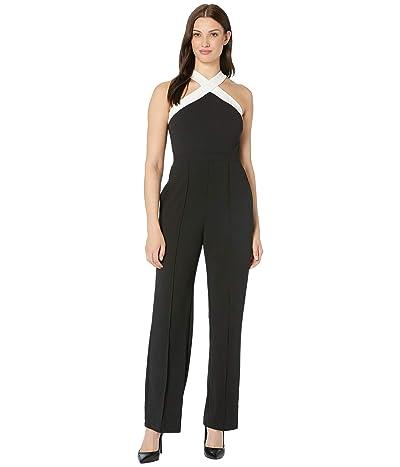 Donna Morgan Cross Neck Crepe Jumpsuit (Black/Ivory) Women