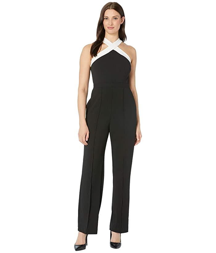 Donna Morgan  Cross Neck Crepe Jumpsuit (Black/Ivory) Womens Jumpsuit and Rompers One Piece