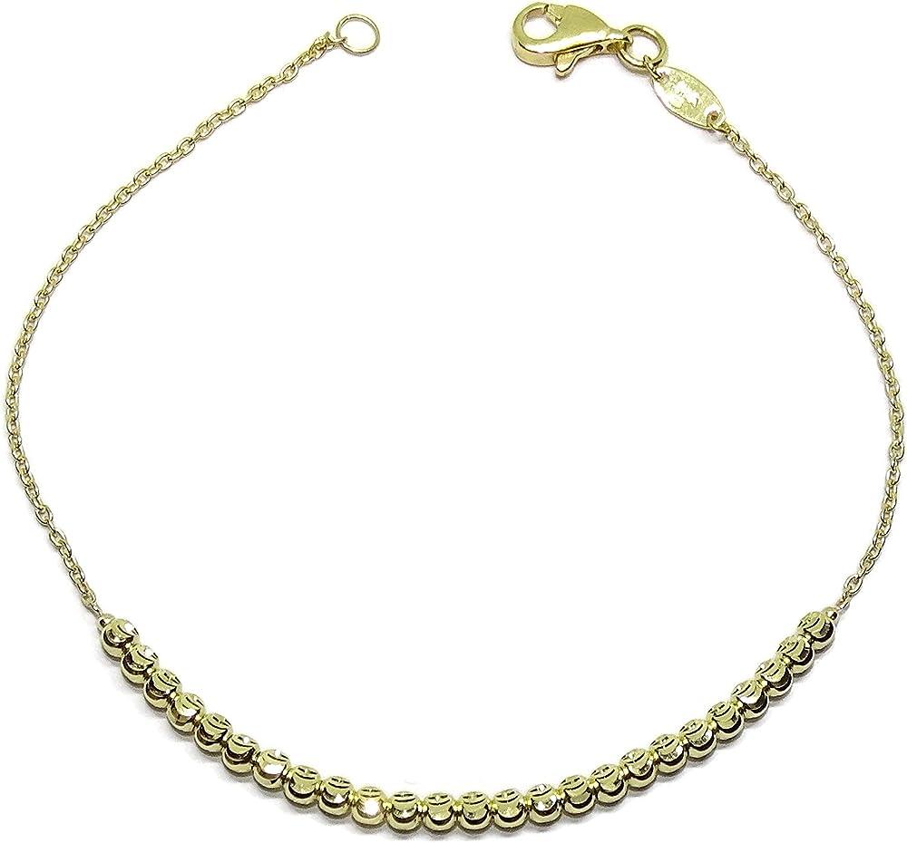 Never say never bracciale per donna in oro giallo, con sfere in oro 18k/750 (2,75gr) 94012505