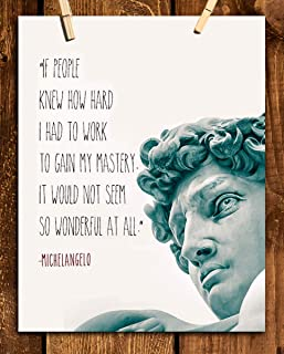 """Michelangelo Quotes Wall Art- """"Mastery""""- 8 x 10"""