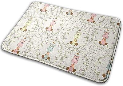 Cartoon Giraffe Carpet Non-Slip Welcome Front Doormat Entryway Carpet Washable Outdoor Indoor Mat Room Rug 15.7 X 23.6 inch