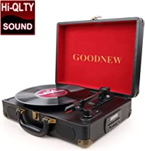 GoJiaJie Vinyl Record Player Turntable with Built in Speakers Support Headphone & RCA Output and AUX (3.5mm) Input Jack