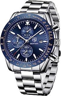 BENYAR Wrist Watch Men Chronograph Analogue Quartz Mens Watches for Men Leather Strap Fashion Business Sport Design 30M Waterproof Elegant Men Gift