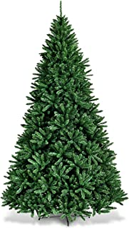 Goplus Artificial Douglas Christmas Tree, Unlit Hinged Pine Tree, Easy Assembly/with Solid Metal Stand, Xmas Tree for Indoor and Outdoor (9ft)