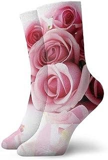 Impresionantes rosas románticas para hombre para mujer calcetines cortos 30 cm calcetines clásicos de algodón para yoga senderismo ciclismo correr fútbol deportes