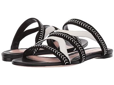 Alexander McQueen Flat Leather Sandal Slide (Black/Ivory/Silver) Women