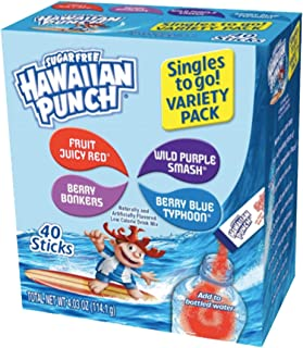 Hawaiian Punch Singles To Go Powder Sticks, Variety Pack, 40 Count, Pack of 4