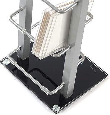 DESIGN CD STÄNDER CD REGAL LOUNGE TOWER 92cm aus Aluminium und Glas Aufbewahrung für ca 85 CDs
