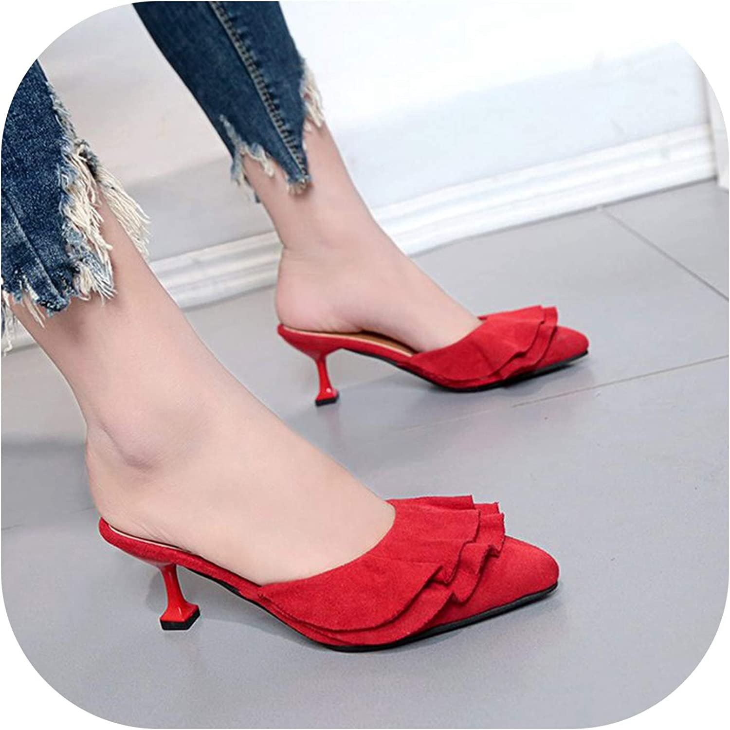 6443040bd8 Sweetest-Thing Pointed Mule Slippers,Woman Flounce Middle Heel Slippers  Shallow Out Sandals Pointed