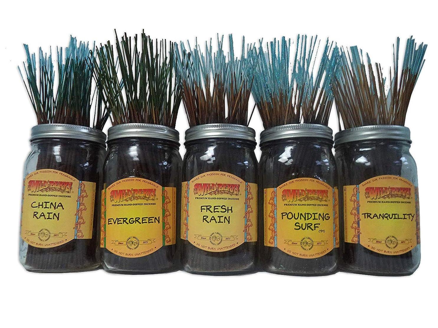 湿原レンジブラケットWildberry Incense Sticks Fresh & Clean Scentsセット# 1?: 20?Sticks各5の香り、合計100?Sticks 。