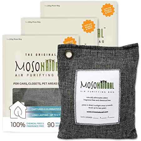 MOSO NATURAL: The Original Air Purifying Bag. for Cars, Closets, Bathrooms, Pet Areas. an Unscented, Chemical-Free Odor Eliminator. 200g 3 Pack (Charcoal)