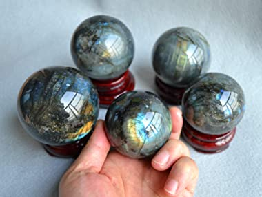 FHNP367 Labradorite Sphere Natural Labradorite Ball 2.5 inches Crystal Sphere with The Wood Stand