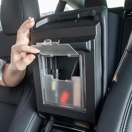 Black 2020 Version TAPTES Tesla Model 3 Y Center Console Organizer Accessories, Hidden Armrest Storage Box fits Model 3 2017 2018 2019 2020 Model Y 2020