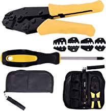 Goplus Crimping Tool Kit Crimper Crimp Pliers Set 0.5-35mm 2 Ratchet 4 Spare Dies w/Oxford Bag