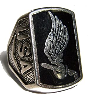 Noveltees USA Airbourne 173RD Division Wing Knife Mens OR Womens Deluxe Military Ring - Size 8