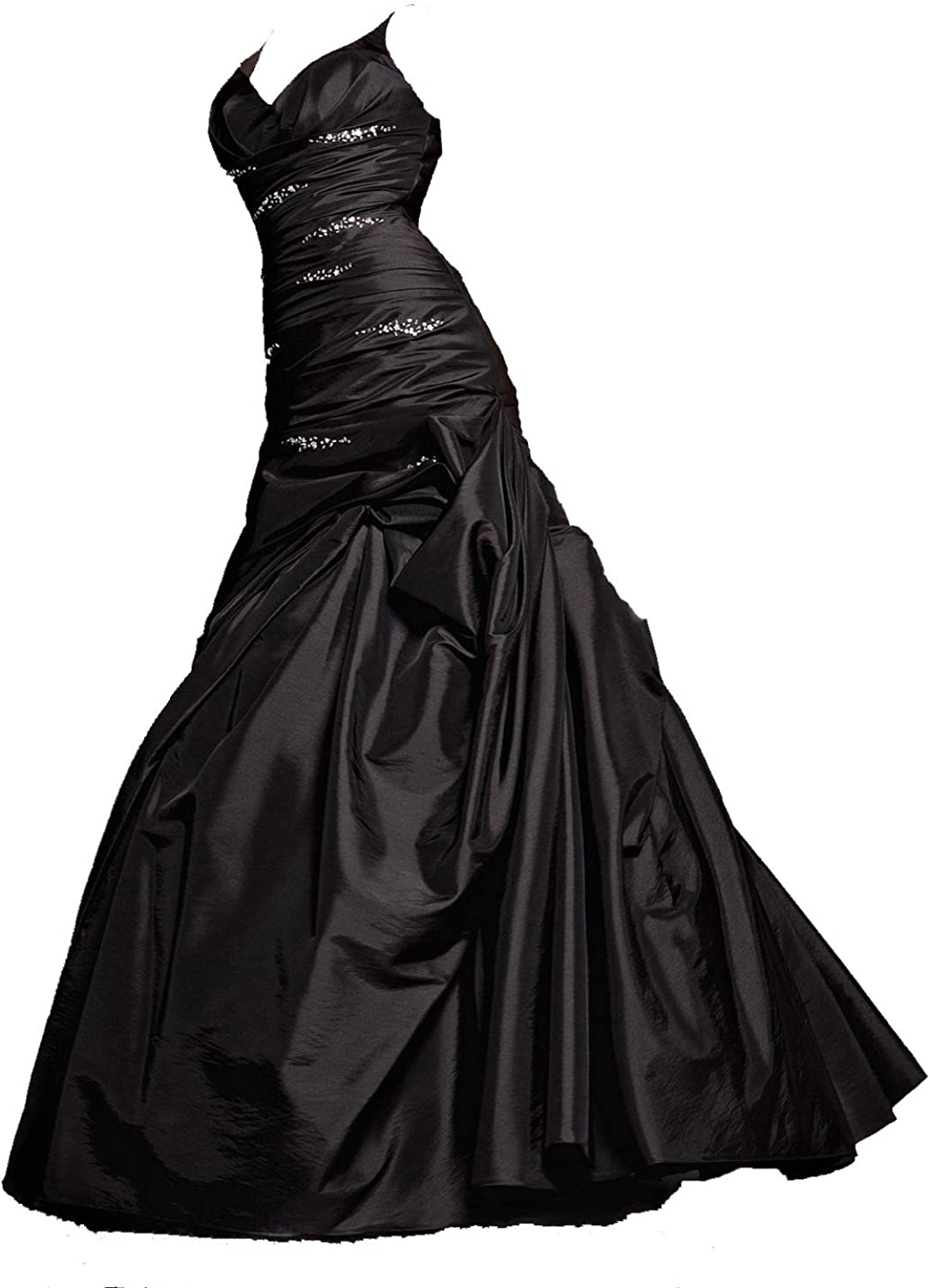Bonnie clothing Womens Satin Ball Gown Black Beaded Prom Dresses