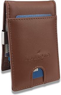 محفظة بلو نيرو بمشبك نقود للرجال - جيب أمامي مصغر محفظة ثنائية الطي مع علبة هدايا