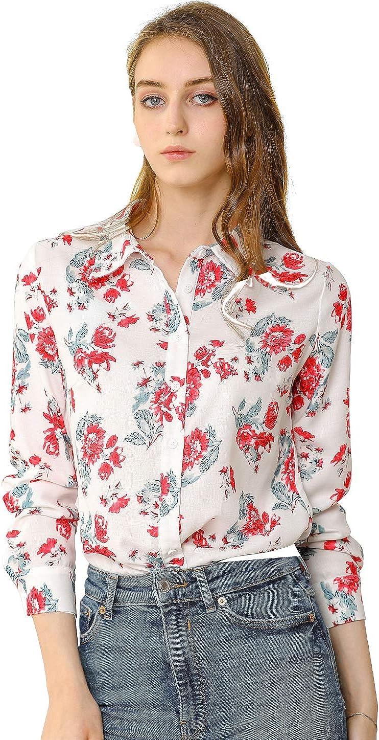 Allegra K Women's Button Down Floral Blouse Long Sleeve Point Collar Shirts Top