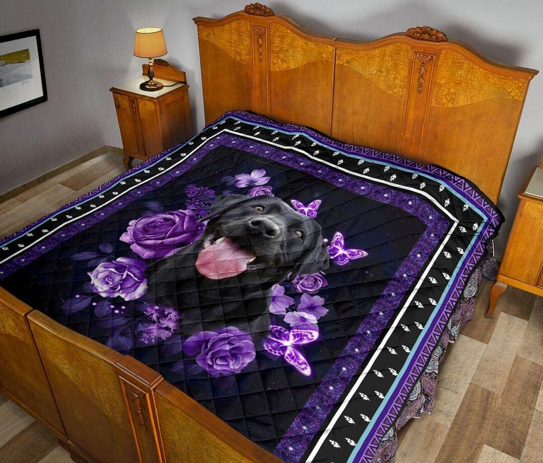 Personalized Lovely Labrador and Purple Birthday Quilt Roses Gif Max 71% OFF OFFicial