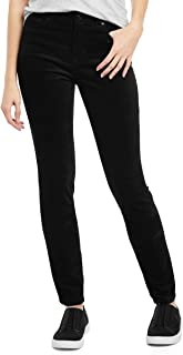 Women's Preston High Rise Stretch Velvet Jean Pants (Black)