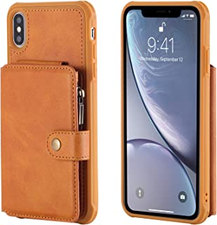 Cover Case for iPhone Xs Max,Holder PU Leather Brown Waterproof 6.5inch Holder Magnetic Buckle Zipper Coin Pocket 8 Card Slot (ID Card,Credit Card) Accurate Cutouts Gift Girls Boys