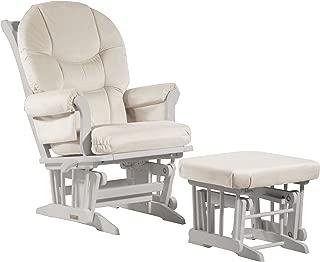 Dutailier Sleigh Glider-Multi-Position Reclineand Nursing Ottoman Combo, White/Beige