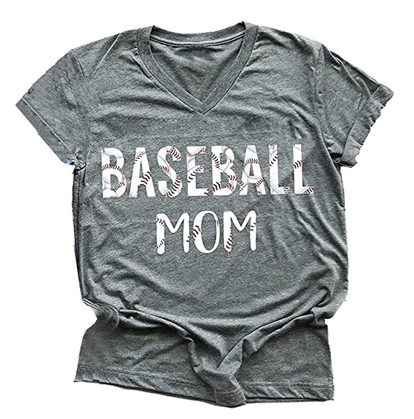 MOMOER Baseball Mom Shirt Women Funny Mama Graphic Baseball Lover T-Shirt V Neck Short Sleeve Summer Tops Tees
