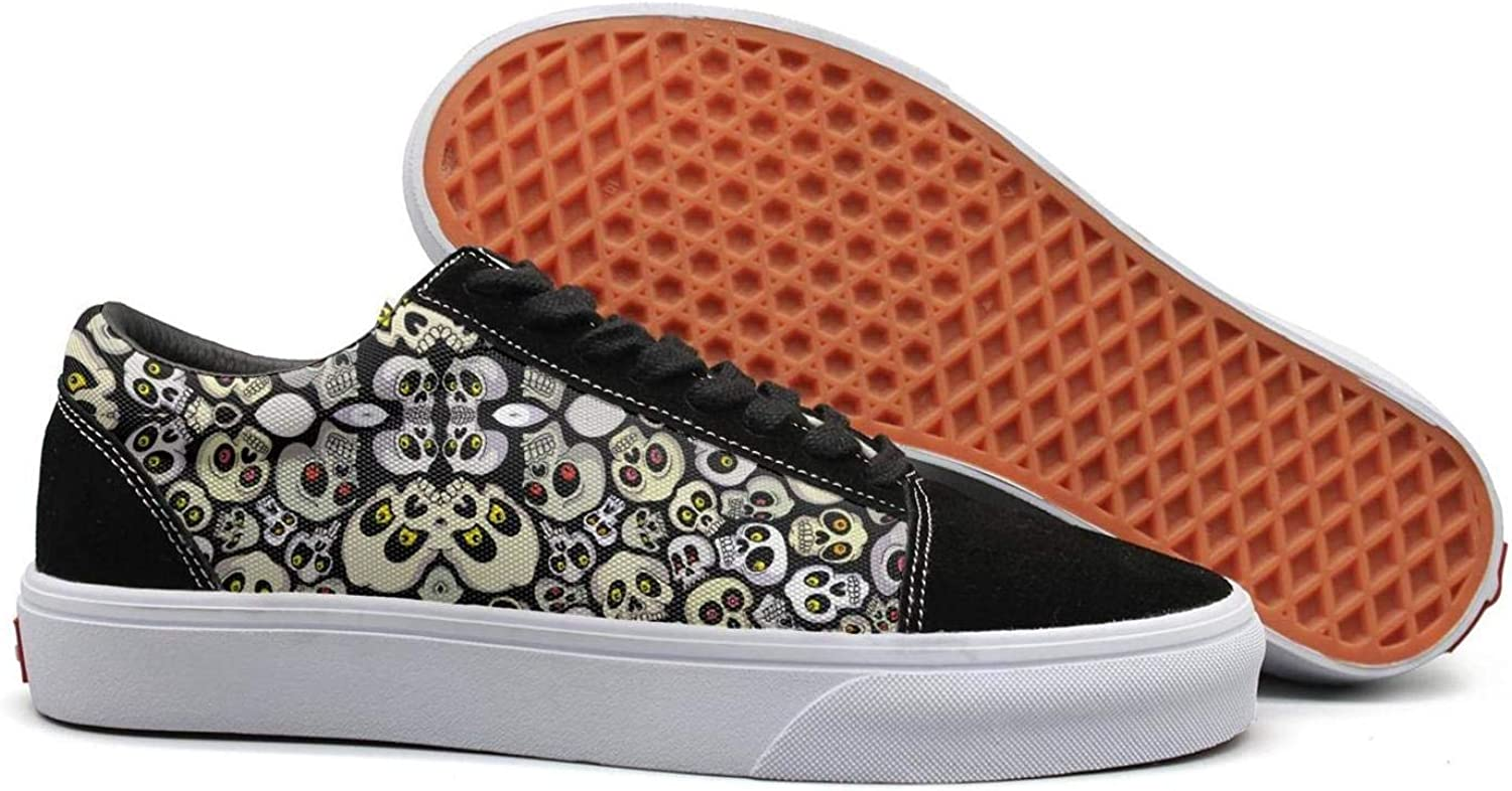 Winging Womens colorful Mexican Evil Skull Face Funny Suede Canvas shoes Old Skool Sneakers