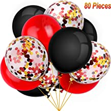 80 Pieces Lumberjack Party Balloons Set Confetti Balloons Latex Balloons for Birthday Baby Shower Wedding Graduation 4th of July Decorations, 12 Inch (Red, Black)