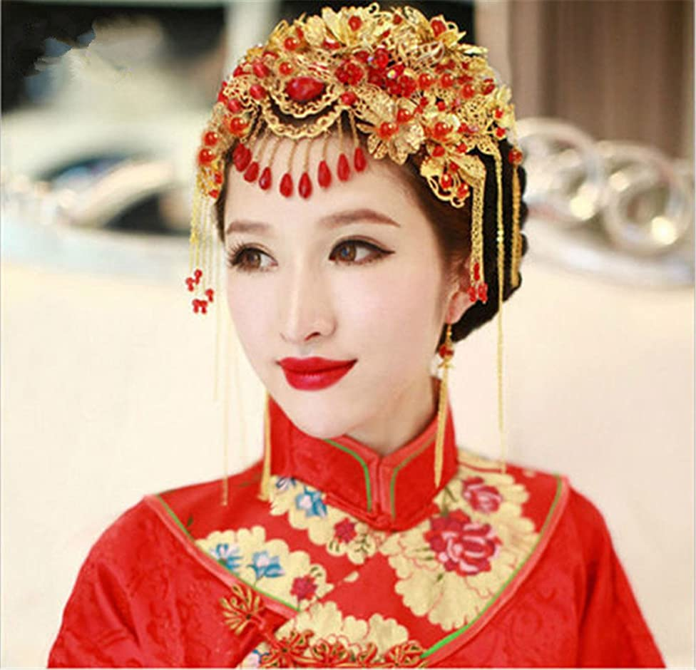 BININBOX Vintage Wedding Hair Retro Chinese Style With Bead For Women Bridal Bridesmaids Headpiece Head Band Accessorie (J)