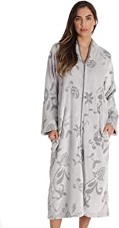 Image of Fleece Floral Zippered Bath Robe for Women - See More Colors
