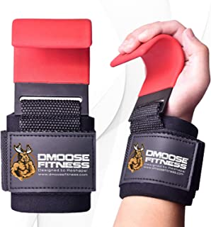 DMoose Fitness Weight Lifting Hooks Grip (Pair) - 8 mm...