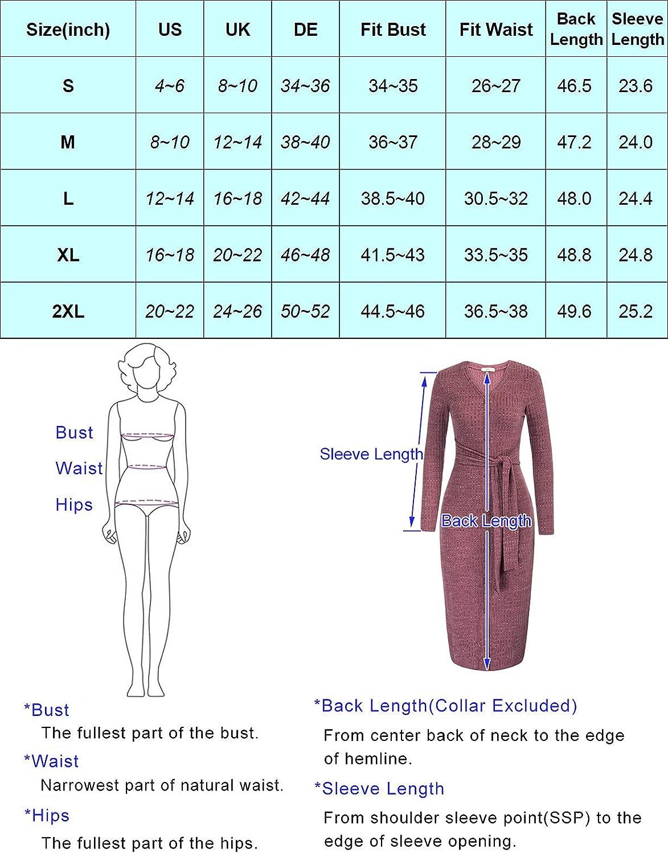 Zexxxy Women's Tie Waist Bodycon Cocktail Dress Long Sleeve V-Neck Casual Dress Soft Knit Button Long Dress S-XXL