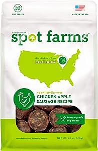 Spot Farms All Natural Human Grade Dog Treats, Chicken Apple Sausage, 6 Ounce