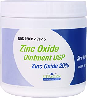 Zinc Oxide Ointment USP 20% | for Diaper Rash, Chafed Skin, Protects from Wetness, Relief from Poison Ivy, Poison Oak, & P...