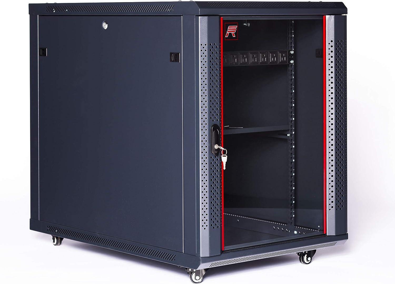 15U Server Rack Network Cabinet Portable Enclosure 35 inch Depth - Powerstrip - Casters - Fan - Shelf - Hardware - SRW 15.900