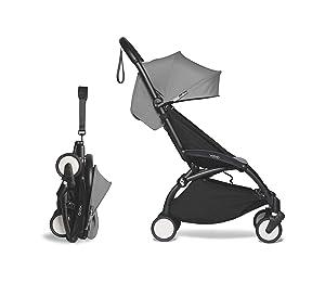 Babyzen YOYO2 Stroller - Black Frame with Grey Seat Cushion & Canopy