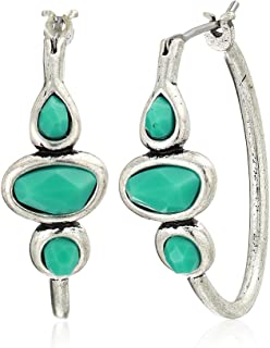 Turquoise Hoop Earrings, Silver, One Size