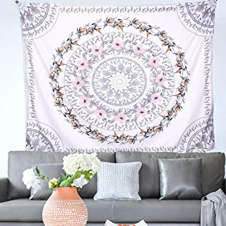 Indian Tapestry Mandala Wall Hanging Sketched Floral Medallion Bohemian Decor Psychedelic..