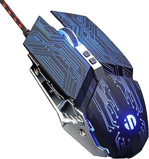INPHIC Ratón Gaming Profesional, Ratón con 7 Botones Macro Programables, 4800 dpi, Clic Silencioso, Retroiluminación RGB, Ratón Ergonómico óptico con Cable USB para Computadora Portátil-(JDMM)