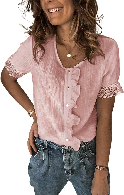 Ecrocoo Womens Casual Summer V Neck Tops Cute Ruffle Short Sleeve Button Down Shirts Blouses